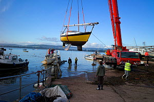 Lifting boats out of the water for winter maintenance, Lympstone, Exe Estuary, Devon, England, October 2012.  -  Rob Cousins