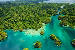 Aerial view of 'The Passage' channel between Gam (on left) and Waigeo (on right) islands, Raja Ampat Islands, West Papua, Indonesia 2010  -  Tim Laman/Nat Geo Image Collection
