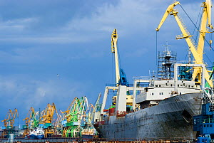 Large vessels being repaired on the dockside in the industrial harbour of Klaipeda, Lithuania, August 2007.  -  UNCATALOGUED