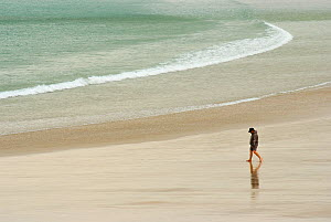 Man strolling along a beach with gently lapping waves, Newquay, Cornwall, England, September 2007.  -  UNCATALOGUED