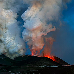 Ash plume and lava erupting from Plosky Tolbachik Volcano, Kamchatka Peninsula, Russia, 5 December 2012  -  Sergey Gorshkov