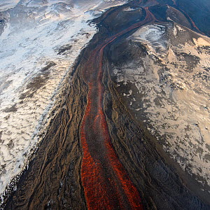 Aerial view of lava flow from Plosky Tolbachik Volcano eruption, Kamchatka Peninsula, Russia, 5 December 2012  -  Sergey Gorshkov