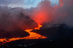Red hot lava flow from Plosky Tolbachik Volcano, Kamchatka Peninsula, Russia, 15 December 2012  -  Sergey Gorshkov
