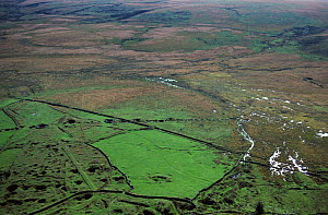 Aerial view of Foxtrot Mire and tin works. Devon, UK.  -  Andrew Cooper