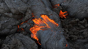Basaltic lava flow from the Tolbachik volcano complex, Kamchatka, Far East Russia, eruption lasted from December 22nd 2012 through to January 2nd 2013.  -  Sergey  Gorshkov