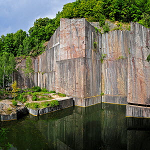 Water in the abandoned red marble quarry of Carriere de Beauchateau in the Belgian Ardennes, Belgium, August 2012 - Philippe Clement