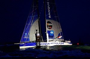 IMOCA 60 'Banque Populaire' skippered by Armel le Cleac'h finishing second in the Vendee Globe in a time of 78 days 5 hours 33 minutes and 52 seconds. Les Sables d'Olonne, France, 27th January 2013. A... - Benoit Stichelbaut