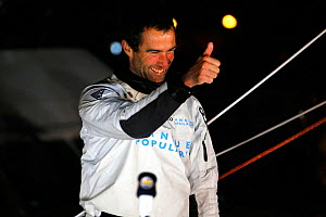 Armel le Cleac'h after finishing second in the Vendee Globe on board IMOCA 60 'Banque Populaire' in a time of 78 days 5 hours 33 minutes and 52 seconds. Les Sables d'Olonne, France, 27th January 2013.... - Benoit Stichelbaut