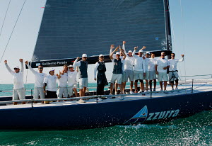 Crew celebrating on board winning TP52 'Azzurra' at Key West Race Week, Florida, USA, January 2013. All non-editorial uses must be cleared individually. - Jesus Renedo