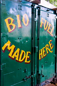 Shipping container with Bio Fuel Made Here printed on the doors, Hackney City Farm, London UK  -  Pat  Tuson