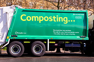 Compost waste truck collection, London Borough of Islington, UK March 2009  -  Pat  Tuson