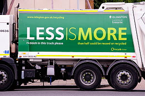 Waste Vehicle with recylcing slogan printed on the side in an effort to get people to recycle, London Borough of Islington, UK  -  Pat  Tuson