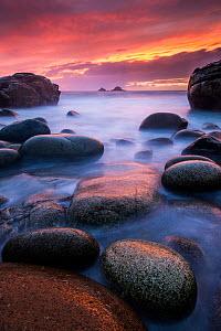 Sea and stones at Porth Nanven beach, with rising tide at sunset, The Cot Valley, near Cape Cornwall, West Cornwall, UK. September 2012. - Ross Hoddinott
