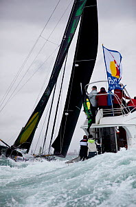 IMOCA 60 'Akena Verandas' skippered by Arnaud Boissieres finishing 8th in the Vendee Globe, Les Sables d'Olonne, France, 9th February 2013. All non-editorial uses must be cleared individually. - Benoit Stichelbaut