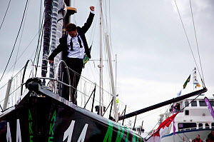 Skipper Arnaud Boissieres celebrating finishing 8th in the Vendee Globe on board IMOCA 60 'Akena Verandas', Les Sables d'Olonne, France, 9th February 2013. All non-editorial uses must be cleared indiv... - Benoit Stichelbaut