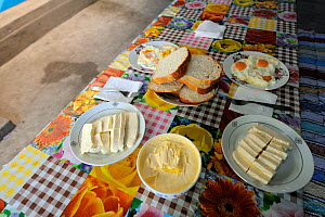 Typical breakfast for Camareica family, Danube delta rewilding area, Romania - Wild Wonders of Europe / Widstrand