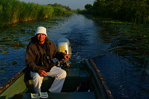 Boat guide and pension owner Florin Oprisan, tourism for the delta, Danube delta rewilding area, Romania May 2012  -  Wild Wonders of Europe / Widstrand