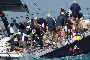 Action on board during a race at Key West Race Week, Florida, USA, January 2013. All non-editorial uses must be cleared individually. - Ingrid Abery