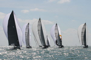 Yachts racing under spinnaker in the sun during Key West Race Week, Florida, USA, January 2013. All non-editorial uses must be cleared individually.  -  Ingrid Abery