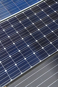Close up view of three types of Photovoltaic panel, Wiltshire, UK.  -  Nick Upton
