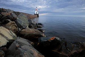 Wisconsin Point Lighthouse on Lake Superior near the town of Superior. Wisconsin, USA, August 2011  -  Kirkendall-Spring