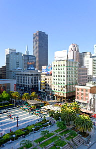 Looking down on Union Square, in downtown San Francisco, California, USA 2011 - Gavin Hellier