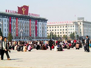 People in Kim Il Sung Square in the capital city of Pyongyang, Democratic Peoples' Republic of Korea (DPRK), North Korea 2012  -  Gavin Hellier