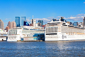 Huge luxury liners infront of Midtown Manhattan across the Hudson River, New York, USA, October 2011 - Gavin Hellier