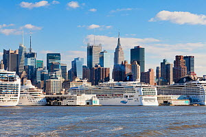 Luxury cruise liners infront of Midtown Manhattan across the Hudson River, New York, USA, October 2011  -  Gavin Hellier