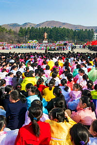 Celebrations on the 100th anniversary of the birth of President Kim IL Sung, Pyongshong, satellite city outside of Pyongyang, Democratic Peoples' Republic of Korea (DPRK), North Korea, April 15 2012  -  Gavin Hellier