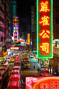 Street scene above mini bus station and Neon lights of Mong Kok, Kowloon, Hong Kong, China, July 2011. No release available. - Gavin Hellier