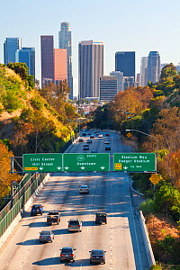 Pasadena Freeway, CA Highway 110, leading into downtown Los Angeles, California, USA, June 2011 - Gavin Hellier