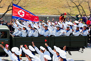 Sailors on military parade during street celebrations on the 100th anniversary of the birth of President Kim IL Sung, Pyongyang, North Korea, Democratic Peoples' Republic of Korea (DPRK) April 15th 20...  -  Gavin Hellier