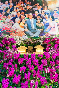 Flower show and idealised painting to celebrate Kim Il Sung's 100th Anniversary, Kimilsungia Flower Exhibition Hall, Pyongyang, North Korea, Democratic Peoples' Republic of Korea (DPRK) 15 April 2012  -  Gavin Hellier