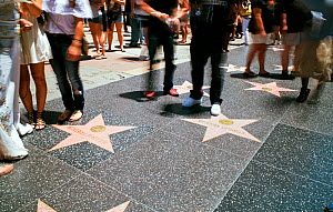 Tourists looking at stars on Walk of Fame, Hollywood Boulevard, Los Angeles, California, USA  -  Gavin Hellier
