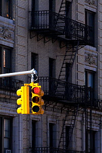 Traffic lights on red and typical buildings in the district of Harlem, New York, USA 2011  -  Gavin Hellier