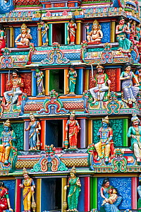 Close up of the Gopuram of the Sri Mariamman Temple, a Dravidian style temple in Chinatown, Singapore, 2012  -  Gavin Hellier