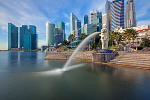 The Merlion Statue with the city skyline in the background, Marina Bay, Singapore, 2012 - Gavin Hellier