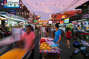 Khao San Road at dusk, Banglamphu, Bangkok, Thailand, 2010. No release available. - Gavin Hellier
