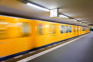 Moving train pulling into the station in new subway train station, Berlin, Germany 2007  -  Gavin Hellier