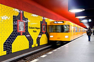 Moving train pulling into the station in new subway train station, Berlin, Germany 2009  -  Gavin Hellier