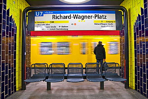 Moving train pulling into the station in modern subway station, Berlin, Germany 2009  -  Gavin Hellier