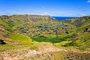 View from the rim into the crater of Ranu Kau, Isla de Pascua / Easter Island, Chile 2008  -  Gavin Hellier