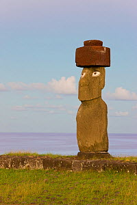 Moai statue Ahu Ko Te riku, the only topknotted and eyeballed Moai on the Island, Rapa Nui, Easter Island, Chile, 2008  -  Gavin Hellier