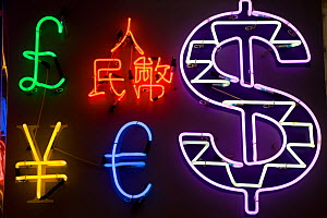Neon signs in shape of foreign currencies, Tsim Sha Tsui, Kowloon, Hong Kong, China 2007 - Gavin Hellier