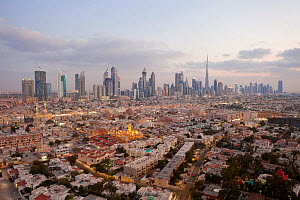 Elevated view of the new Dubai skyline of modern architecture and skyscrapers including the Burj Khalifa on Sheikh Zayed Road, Dubai, United Arab Emirates, 2011 - Gavin Hellier