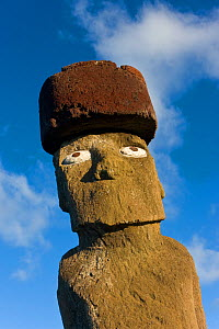 Portrait of Moai statue Ahu Ko Te riku, the only topknotted and eyeballed Moai on the Island, Easter Island, Rapa Nui, Chile 2008  -  Gavin Hellier