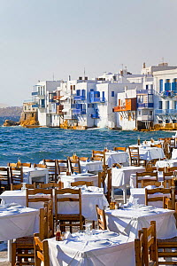 Seaside cafe at Little Venice, Mykonos (Hora), Cyclades Islands, Greece, 2010  -  Gavin Hellier