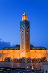Hassan II Mosque, the third largest mosque in the world, illuminated at night, Casablanca, Morocco, 2011  -  Gavin Hellier