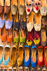 Traditional leather shoes for sale in Mutrah Souq, Muscat, Oman 2007  -  Gavin Hellier